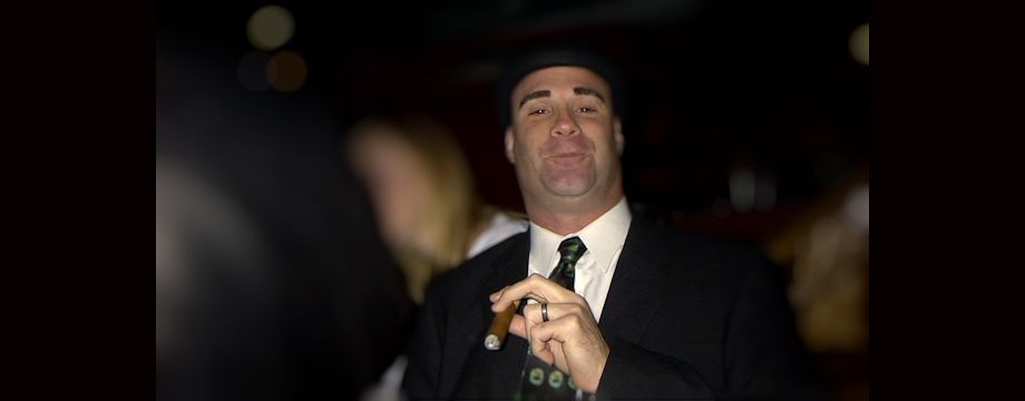 WeirDave enjoying a cigar in a bowler (2004)