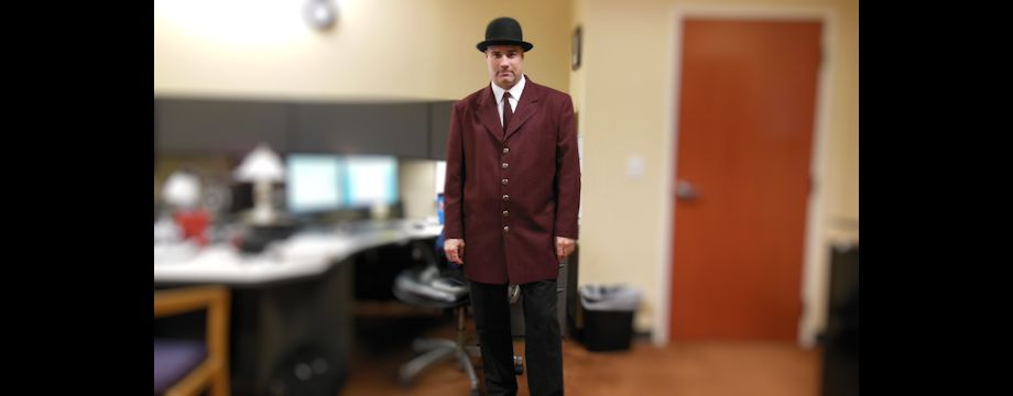 WeirDave dressed in a 1950's Mob Coat (2012)