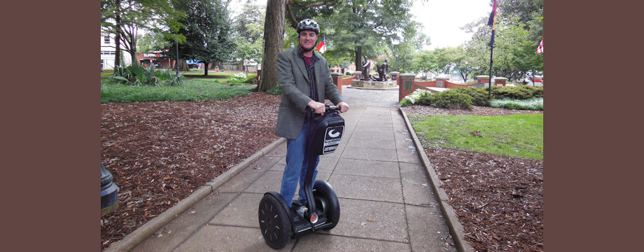 WeirDave on a segway in Raleigh (2014)